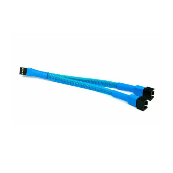 Light Blue 3pin Fan Y Splitter Cable 20cm